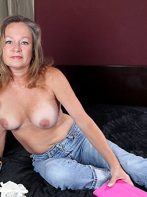 nasty mature in tight-fisted jeans